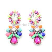 2014 Spring New Vintage Teardrop Multi Color Chuncky Crystal Flower Stud Earrings For Women