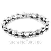 Free shipping! Bicycle Motorcycle Chain Bracelet Stainless Steel Jewelry Silver & Black Rubber Motor Biker Bracelet SJB0211