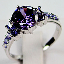 Amethyst White Gold Filled Ring Lady's 10KT Finger Rings For Women 2014 Fashion Jewelry Size 6/7/8/9/10