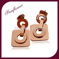 FREE SHIPPING 2014 Brand New FASHION Lovely design elegant rose gold color  design drop earrings for women