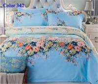 Blue Floral 4pcs Bedding set Bedclothes bedspread bed set Comfortable bedlinen twin full queen king Size Bedding home textile