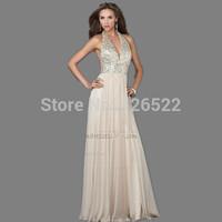 Long Evening Dresses Cheap Sale ! 2014 New Arrived Deep V-neck Halter Crystal Evening Dress A-Line Chiffon Formal Dress