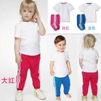 2014 Children's clothing A-D Short-sleeved Casual girls Suit 2 pcs baby boys clothes set(t shirt+ long pants) 5 set/lot