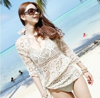 New 2013 Fashion hollow out women clothing Holidaying crochet sweater sun-proof beach dress lady smock for summer swimwear