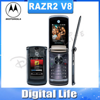 V8 Original Motorola RAZR2 V8 2MP Camerea Bluetooth Flip Cell Phone Refurbished