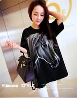 2014 summer hot sale pregnant T-shirts pure cotton cute print horse unique loose soft black long maternity cloth cheap plus XL