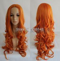 Death/matsumoto rangiku Fashion long orange Curly Cosplay Wig Cosplay Quality Kanekalon made Brazilian no lace front wigs