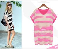 Free shipping 2014 new t shirt women good quality cotton T-shirt long women t-shirt big striped summer top yellow black and pink