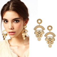 Wholesale or Retail-  Fashion Style Gold Plated Alloy Drop Coin Earrings