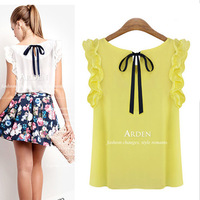 I S-XL New 2014 chiffon blouse women's o-neck lotus leaf pullover lacing bow chiffon shirt top women's blouse