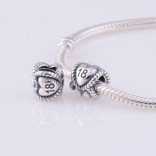 Fits Pandora Bracelet DIY Making 925 Sterling Silver Threaded Bead Lucky Number 18 Ball Pattern European