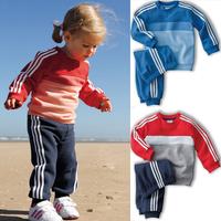2014 A-D Children clothing Autumn Boys girls long sleeve fashion sports suit 2 pcs kids clothes sets(t shirt+ pants) 5 sets/lot