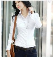 women Korea office lady Slim long-sleeved blouses white OL cotton shirts women slim free shipping