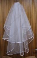 2014 Ivory White Two layers Elegant Tulle Bridal Wedding Veils Accessories veu de noiva