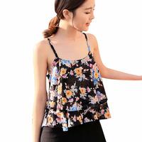 New Fashion Women Summer Spaghetti Strap Floral Print Shirt Chiffon Vest Top Blouses Free Shipping