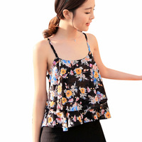 New Fashion Women Summer Spaghetti Strap Floral Print Shirt Chiffon Vest Top Blouses Free Shipping