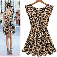 2014 New Chiffon Leopard printed Dresses for Ladies Women one-piece Sleeveless Summer Pleated Cotton O-neck Dress Vestidos 5711