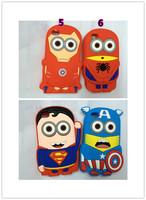Wholesale 3D cute Despicable Me case Minions soft Silicone Case Back Cover For iphone 5S 5G 50pcs/lot