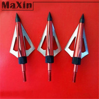6pcs/lot Archery Hunting Red color Arrow Head Broadhead 100Grain 3-blade Alloy Arrowhead Fit Crossbow and Compound Bow