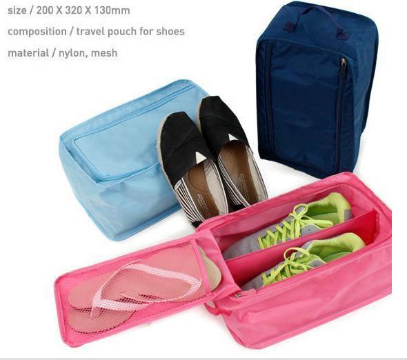 Free Shipping Multi-colors Travel Waterproof Folding Shoes Storage Boxes bins organizer Portable Closet women shoe bags ZNU032(China (Mainland))