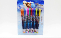 100sets/Lot Free Shipping !12 Colours Fashion Froze Princess Ball-point Pen Cartoon Multi-colour Ball Pen for kids A3299