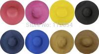 Free Shipping+Wholesale Fashion Chic Womens Ladies Wide Large Brim Summer Beach Sun Hat Straw Derby Cap,50pcs/lot
