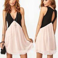 Summer dress 2014 new fashion summer dress women chiffon dress backless Deep V Neck casual dress