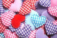 100  Padded  Cotton  fabric appliques trim - 22 x 15 mm  Mix