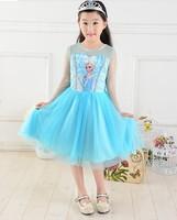 free shipping new design frozen girl girls dress dress blue