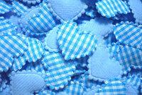100  Padded  Cotton  fabric appliques trim - 22 x 15 mm  Blue