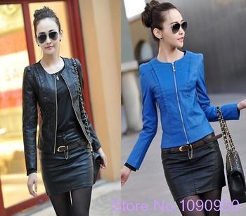 2014 spring Женщины's leather cloТонкийg female Короткий design slim О-образным ...