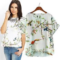 New women blouse spring 2014 za spring bird printing short sleeve shirt Snow spins unlined upper garment