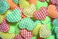 100  Padded  Cotton  fabric appliques trim - 22 x 15 mm  Mix color