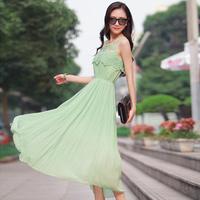 Free Shipping Plus Size New Fashion 2014 Women Spring Summer  Sleeveless  Girl Casual Long Beach Green Beige Yellow  Dress