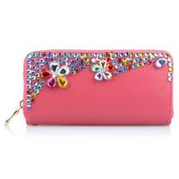 2014 Diamante Rhinestone women wallets women bags genuine leather wallet  genuine leather WZ-1284