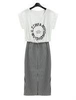 New 2014 Summer Dress Stripe Dress Long Plus Size Women Dress MR1-2