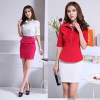 2014 NEW High Quality lace half sleeve white shirt women's wear work wear slim shirt chiffon women's Blouses