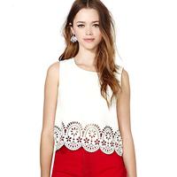 2014 new Fashion normic richcoco pattern laser sculpture o-neck sleeveless vest short design chiffon shirt d328