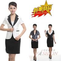 Women's work wear short-sleeve skirt red plus size formal set suit beauty services uniform