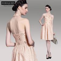 Dorisqueen Classic Royal Style Nude/Pink Short Prom Dress 2014 Halter Empire Formal Evening Dress Princess Party Dress 6088