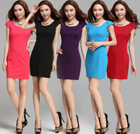 2014 New Fashion Korean Women Ladies Short Sleeve Sheath Dress Sexy Mini Bodycon Dresses Underskirt