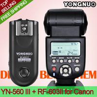 YONGNUO YN-560 III Ultra-Long-Range Wireless Flash Speedlite +RF-603 II Flash Trigger Transmitter for Canon DSLR Cameras