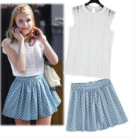 Summer New 2014 Fashion Female/Women Blouse Skirts 2 pcs Clothing Set Twinset Womens Skirt and Top Sleeveless Linen Lace T-Shirt(China (Mainland))