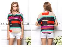 New 2014 Short Sleeve O-neck Stripe Colorful Patchwork Chiffon Casual Women Tshirts Blouses Plus Size XXL