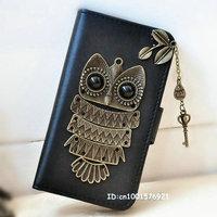 Key Pendant Cute PU Leather Leaves Retro Owl Wallet Flip Case For Samsung Galaxy S4 Mini i9190 i9195
