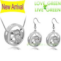 2014 jewelry sets Free Shipping wedding bridal fashion Crystal rhinestones Double float Heart necklace earrings set 84113