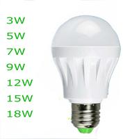 Quality Assurance E27 B22 Light Bulb 3W 5W 7W 9W 12W 15W LED Bulb Lamp, 220V Cold Warm White Led Spotlight Lamps 1pcs/lot