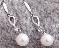 9-10mm Round Natural Freshwater Pearl Earrings, 925 Sterling Drop Earrings Jewelry