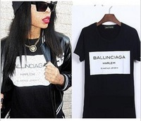 women print letters Ballinciaga Harlem tee t-shirt short sleeve Fashion black and white