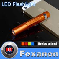 Foxanon Brand Mini LED Torch 3W 260LM CREE Q5 LED Flashlight Orange Aluminium shell waterproof design hunting led lighting 1pcs
